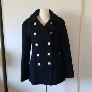 Volcom Black Peacoat with Pink Buttons